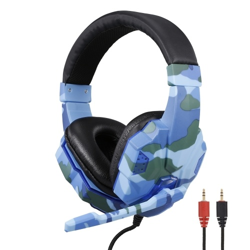 SY830MV Camouflage Headset Sound Effect Gaming Headset 3.5mm Stereo Gaming Headset with Mic 40mm Driver Grey