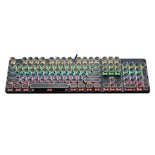 HJK900-5 Teclado mecânico com fio com 104 teclas teclado cromado com efeito de luz de fundo para laptop / PC preto com interruptores OUTEMU azuis