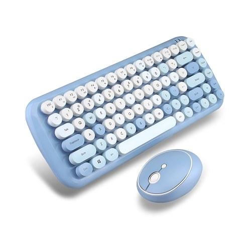 Mofii CANDY Tastiera Mouse Combo Wireless 2.4G Colore misto 84 Tasti Mini Tastiera Mouse Set con tasti circolari Punk Blu
