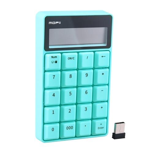Mofii SK-657 2.4G Tastiera wireless 20 tasti Tastiera numerica Calcolatrice portatile con display a LED per contabilità Ufficio marrone