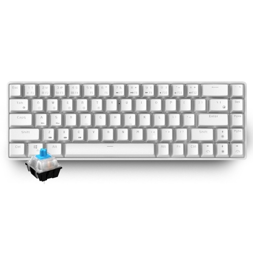 RK855 BT&Wired Dual Mode Keyboard White Backlight 68 Key Mini Mechanical Keyboard for Phone/Tablet White with OUTEMU Blue Switches