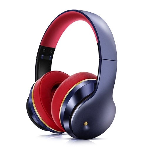 EL528 Wireless BT Headphone Foldable Stereo ANC Headset Sports Gaming TF/FM/Wired Mode Earphone for Phone/Laptop/PC Red&Blue