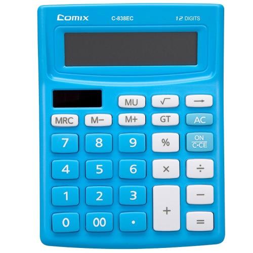 Comix C-838EC colorido Função padrão de desktop Calculadora 12 dígitos solar e bateria Dual Power para a escola Home Office
