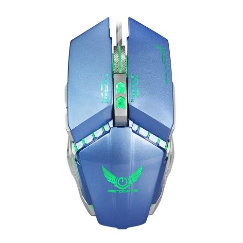 HXSJ X700 USB Wired Game Mice Macro Definição Programação Mechanical Gaming Mouse 3200DPI ajustável 8 botões de respiração LED efeito de iluminação