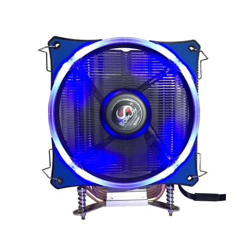 SOPLAY CPU Cooler 4 Heatpipes 4pin 12cm Green LED Fan PC Computer