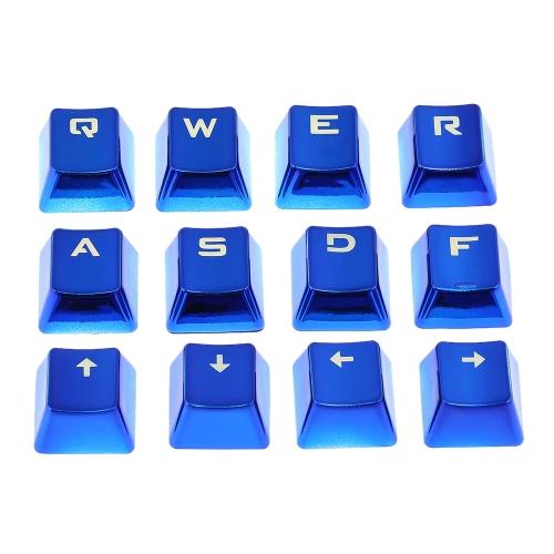 PBT Keycap Double Shot 12 Capa chave translúcida retroiluminada Cor de metal com chave extraível para teclados mecânicos Azul