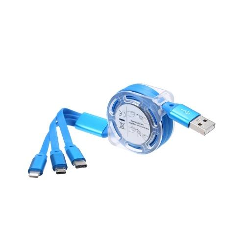 3-em-1 Noodle Design cabo de carregamento cabo de dados MicroUSB Tipo-C Lightening cabo de transferência de dados de carga