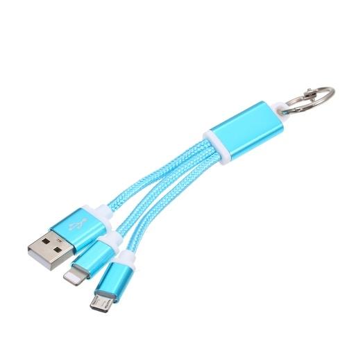 2-in-1 USB 2.0 Stecker auf Typ-C / (für) Lightening Nylon Geflochtenes Ladekabel