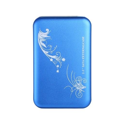 2.5 Inch HDD Case SATA HDD to USB2.0 Converter Adapter External Case Hard Disk Drive Box External HDD Enclosure(Blue)