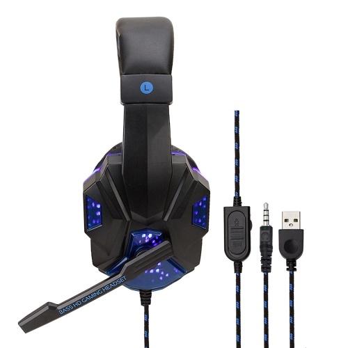 830 Проводные игровые наушники Компьютерные игровые наушники Светодиодная гарнитура с шумоподавлением Оголовье для Xbox One Play Station 4 с микрофоном