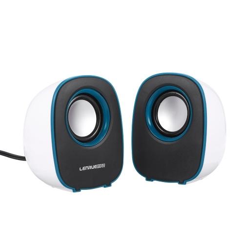 Music Speaker Desktop Speaker Mini Music Speaker with 3.5mm Jack for Laptop/MP3/Smartphones (White+Blue)