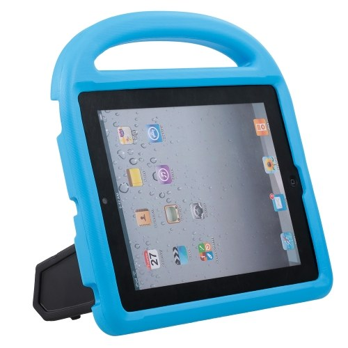 Protective EVA Case for iPad 2/3/4 Silicone Shockproof Handle Case Screen Protector for Kids (Blue)