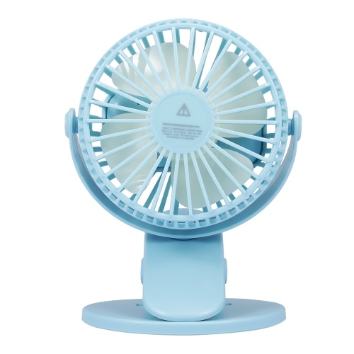 USB Mini Fan Desk Cooler Fan with Clamp Quiet Rechargeable Battery USB Charging (Blue)