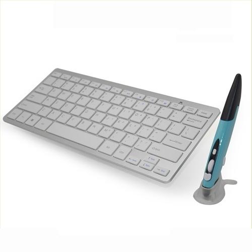 2.4G Беспроводная клавиатура и мышь Combo Touch Pen Mouse и современная клавиатура Combo KM-808 Белая клавиатура + Blue Pen Mouse