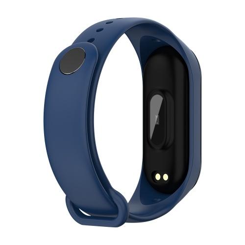 Sports Smart Bracelet BT4.0 Smart Bracelet IP67 Waterproof Support Movement Track Heart Rate Monitor Information Push Blue