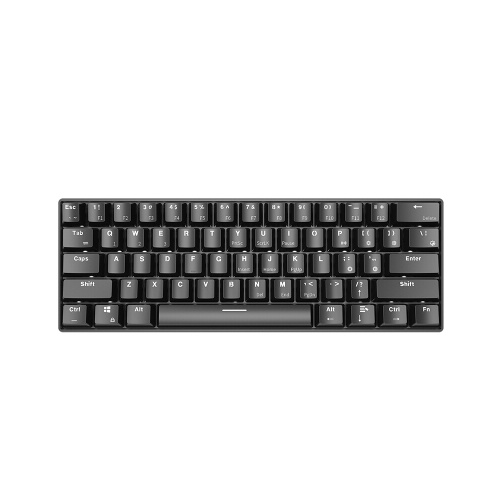 Ajazz i610T USB Wired BT3.0 Dual Mode Gaming Keyboard 61 Keys Mechanical Keyboard Monochrome Backlight Black(Blue Switch)