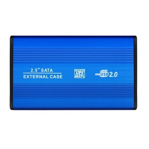 2.5'' SATA SSD HDD Enclosure USB2.0 to SATA Hard Disk Case Portable Aluminum Alloy SSD HDD Enclosure Blue