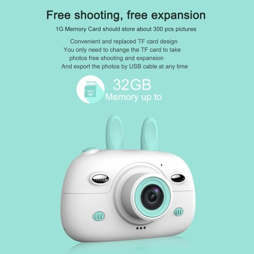 Mini Kids Digital Camera 1.8MP Front Rear Camera Selfie 2.4inch IPS HD Screen Double Flashlights Lovely Camera Blue
