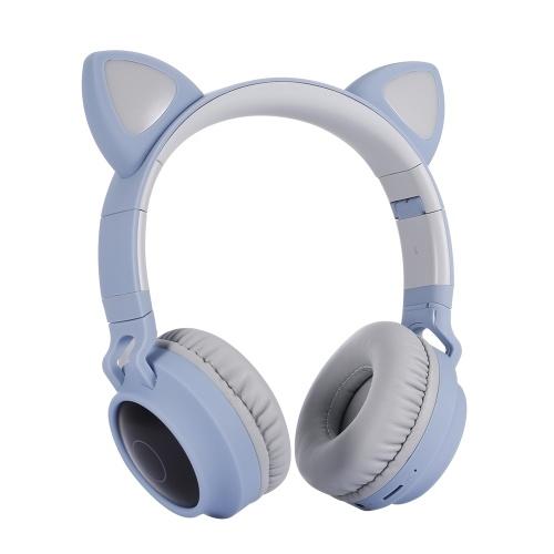 LED Cat Ear Headset RGB 3-Color Lights Noise Cancelling Headphones BT 5.0 Kids Earphone Support TF Card Radio 3.5mm Plug Blue
