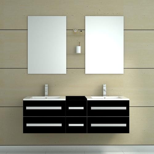 Meuble de salle de bain en bois avec double vasque - 5 Coloris disponibles