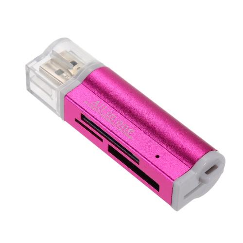 USB 2.0 Multi-funcional All in 1 Leitor de cartão de memória múltipla de alta velocidade para TF SD M2 MS Blue
