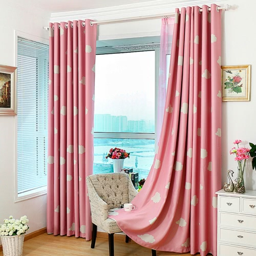 Anself 2PCS Bright Colored Clouds Curtain Window Drape Classy Decoration Draperies for Living Room Bedroom 100*250cm   Punching Grommet Blackout Curtains Linings Panel Size 39