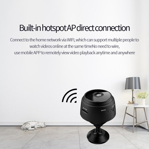 A9 Camera WIFI Remote Camera Wide-angle Home Security Night Vision Camera 1080P HD Camera with Magnetic Installation Black