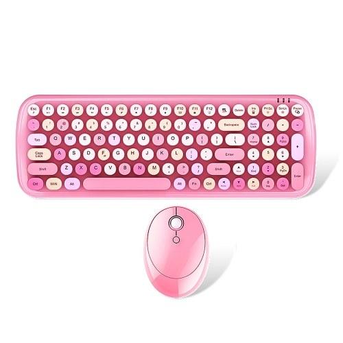 Mofii Candy XR 2.4G Wireless Keyboard & Mouse Combo 100 tasti rotondi Keycaps Tastiera mini ragazze di colore misto per laptop / PC Rosa