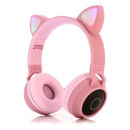 LED Cat Ear Wireless Headset RGB Luci a 3 colori Cancellazione del rumore BT 5.0 Auricolare pieghevole Scheda TF / Radio 3.5mm Plug Rosa