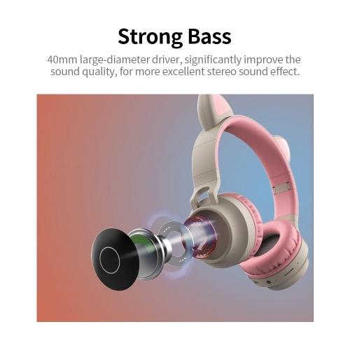 LED Cat Ear Wireless Headset RGB 3-Color Lights Noise Cancelling BT 5.0 Foldable Earphone TF Card/Radio 3.5mm Plug Purple+Pink
