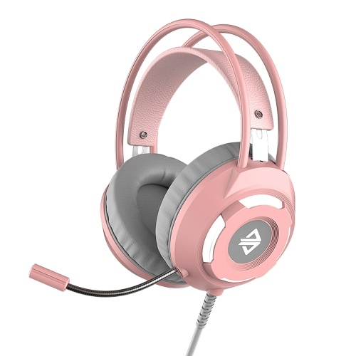 Ajazz AX120 USB Wired Headset 3.5mm Stereo Gaming Headset Noise Cancelling Headphone with Mic 50mm Driver Unit Pink