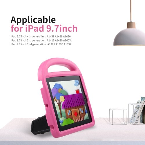 Protective EVA Case for iPad 2/3/4 Silicone Shockproof Handle Case Screen Protector for Kids (Pink)