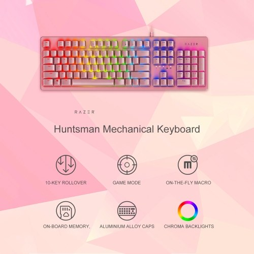Razer Huntsman Mechanical Keyboard Gaming Opto-Mechanical Switch 104 Keys RGB Backlight Wired Keyboard Pink
