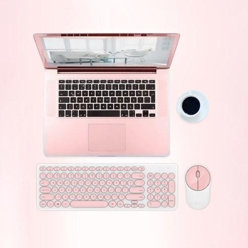 FD Wireless iK6630 Клавиатура и мышь Combo 2,4 ГГц Симпатичные круглые ключи Набор интеллектуальных энергосберегающих тихих щелчков Slim Combo для портативных компьютеров ТВ и Mac Pink