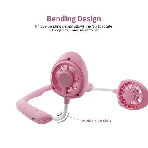 Portable Hanging Neck Fan Mini Portable USB Rechargeable Fan 3-gear Wind Speed 360° Rotation Fan Pink