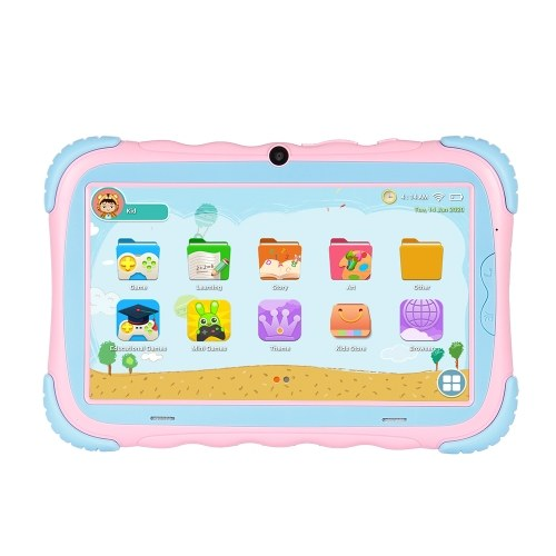 7 inch Kids Tablet with Android 9.0 System Quad-core Processor IPS Screen 1024*600 Resolution WiFi/BT Connection Pink