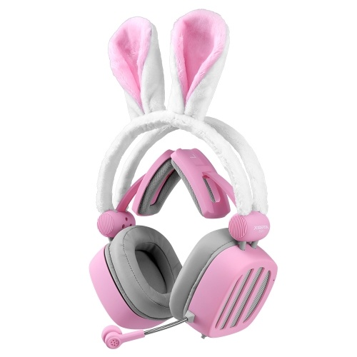 XIBERIA S21 Pink Rabbit Ears Headset 3,5-mm-Gaming-Headset Passives Noise Cancelling-Headset 7.1 Virtual Channel Live-Headset
