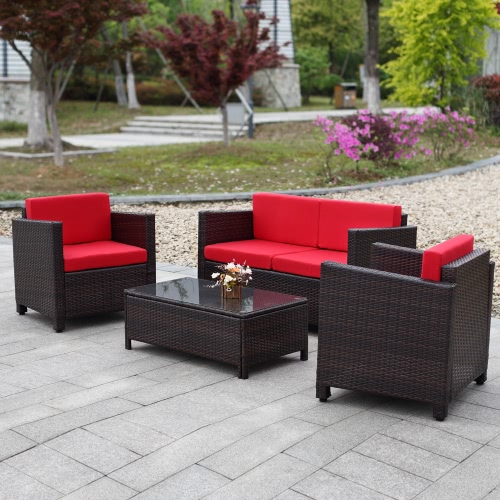4PCS Wicker Cushioned Outdoor Patio Furniture Set Garden Lawn Sofa Couch Set Rattan Weave