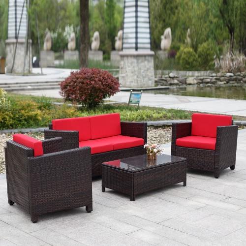 4PCS Rattan Wicker Outdoor Patio Sofa Set Brown