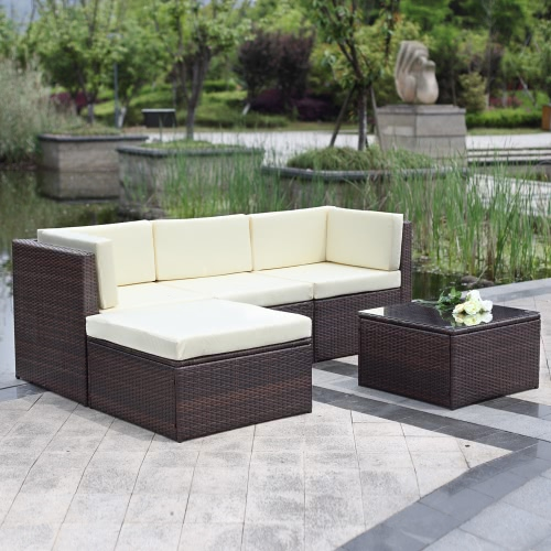 iKayaa 5PCS Outdoor Patio Sectional Rattan Wicker Sofa Set Brown