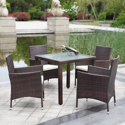 ikayaa 5pcs rattan au enpatio esstisch set cushioned garten patio m bel set braun. Black Bedroom Furniture Sets. Home Design Ideas
