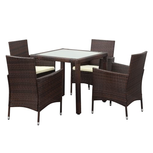 iKayaa 5PCS Rattan Wicker Outdoor Patio Dinning Table Set Brown