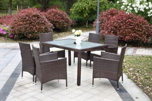 IKayaa 7PCS Rattan Outdoor Patio Dinning Table Set Мягкий сад Патио Комплект мебели Темно-коричневый + Бежевый Подушка