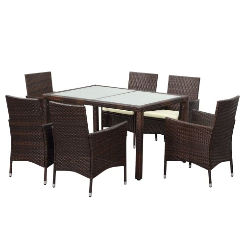 IKayaa 7PCS Rattan Wicker Outdoor Patio Dinning Set Brown