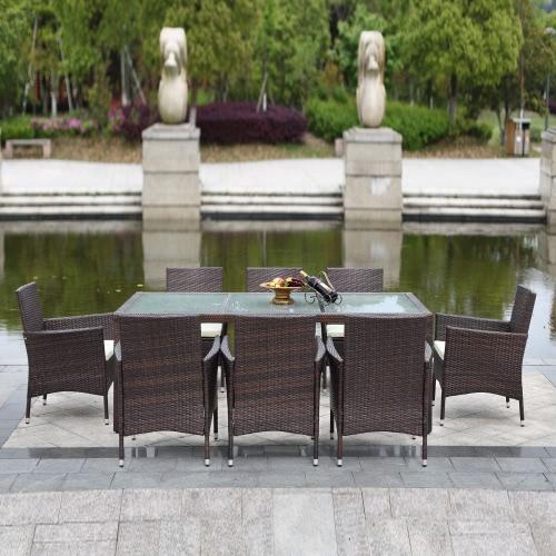 iKayaa 9PCS Rattan Outdoor Patio Dinning Table Set Cushioned Garden Patio Furniture Set Dark Brown + Beige Cushion