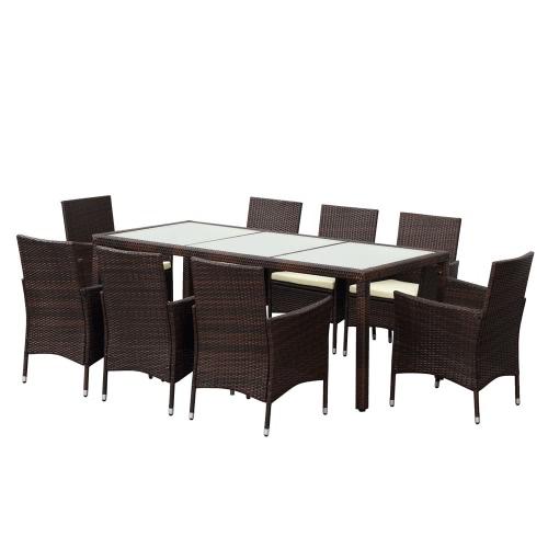 iKayaa 9PCS Rattan Outdoor Dinning Table Set