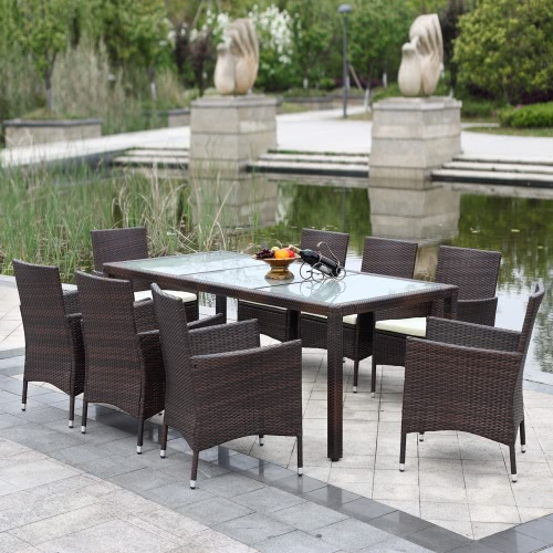 iKayaa 9PCS Rattan Wicker Outdoor Patio Tavolo da pranzo in seta marrone