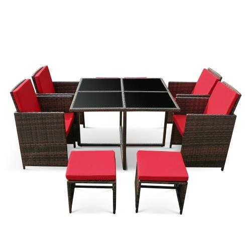 iKayaa 9PCS/8-Seater Rattan Patio Garden Dining Set Furniture Cushioned Outdoor Dining Table Chair Sofa Set Iron Frame