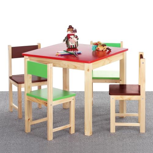 Ensemble table et 4 chaises colorées en bois pour enfant - iKayaa