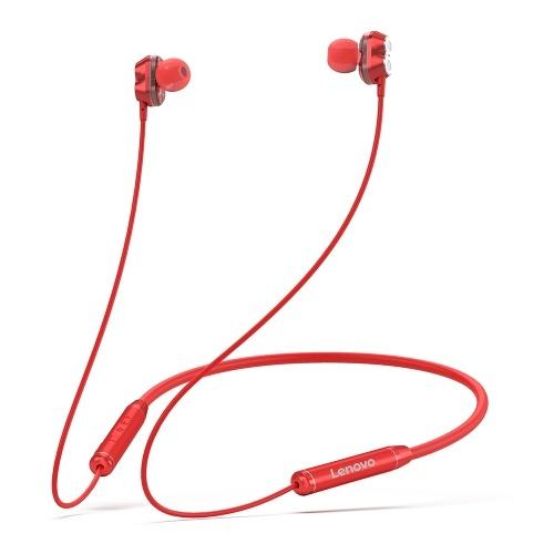 Lenovo HE08 Halsbehang Drahtloser BT-Kopfhörer In-Ear-Kopfhörer IPX5 Wasserdichter Sport-Ohrhörer mit geräuschunterdrückendem Mikrofon Rot
